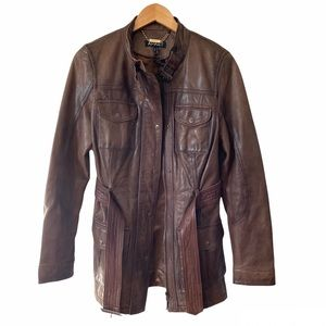 Vintage Lambskin Leather Jacket Brown Trench Coat